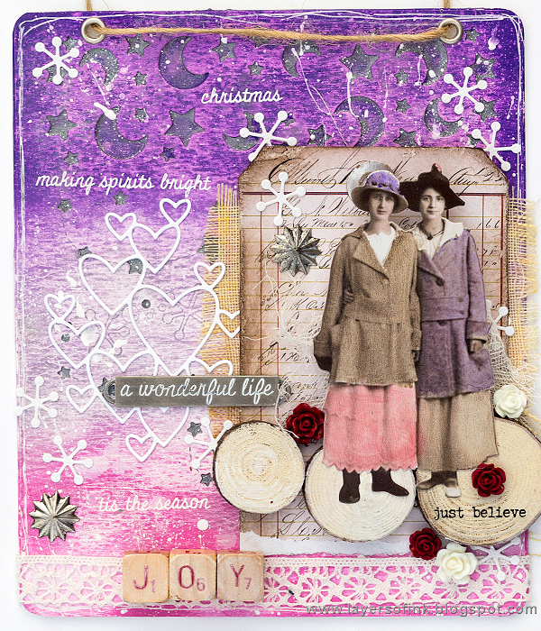 Layers of ink - Christmas Joy Mixed-Media Panel Tutorial by Anna-Karin Evaldsson, for the SSS DieCember Blog Hop