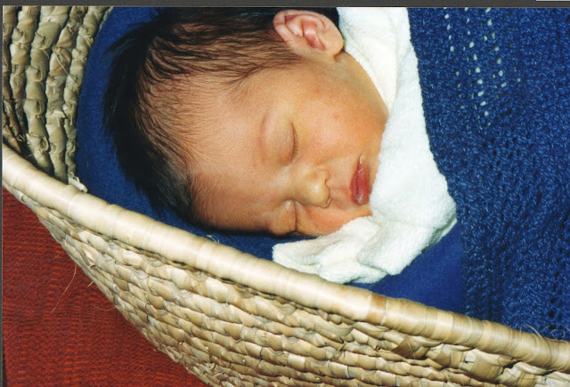 baby sleeping in moses basket