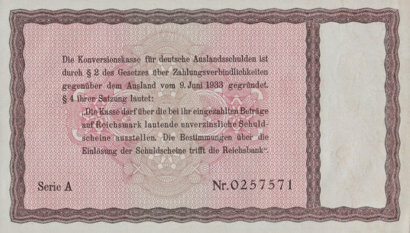 The Third Reich Promissory Notes issued to Jewish citizens 1934