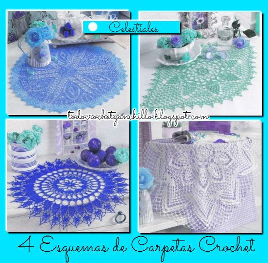 4 Esquemas de Carpetas Celestiales tejidas al crochet