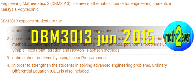 DBM3013 Engineering Mathematics 3 | New Mathematic Course