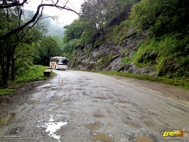 A KSRTC Volvo in the Shiradi Ghat National Highway