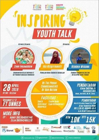 Seminar Talkshow Inspiring Youth Talk 2018 Unnes