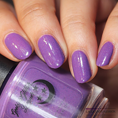 Swatch of a purple creme nail polish with microflakies by Geekish Polish for the Le Petite Indies Spring It On! collaboration box