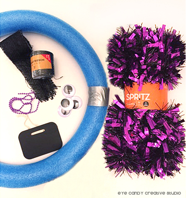 supplies need to make a halloween wreath, target, spritz, ribbon