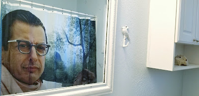Jeff Goldblum shower curtain bathroom redo, via refabulous DIY