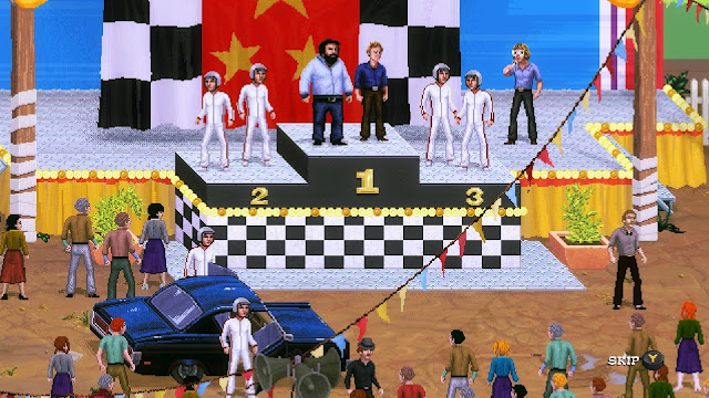 Bud Spencer & Terence Hill - Slaps and Beans -  on the first step of the podium after the buggy race.