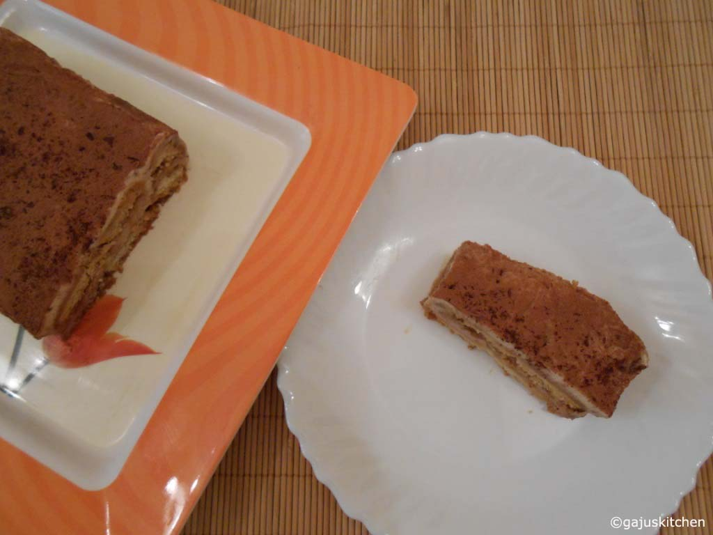 eggless tiramisu using eggless savoiardi biscuits