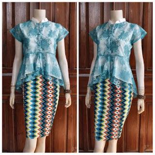 Baju Broklat Kebaya Biru motif batik rang rang