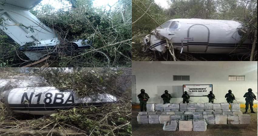 """FOTOS: Se desploma avión """"narco Jet"""" con mas de una tonelada de cocaína en Quintana Roo, muere piloto colombiano y sobrevive un mexicano"""