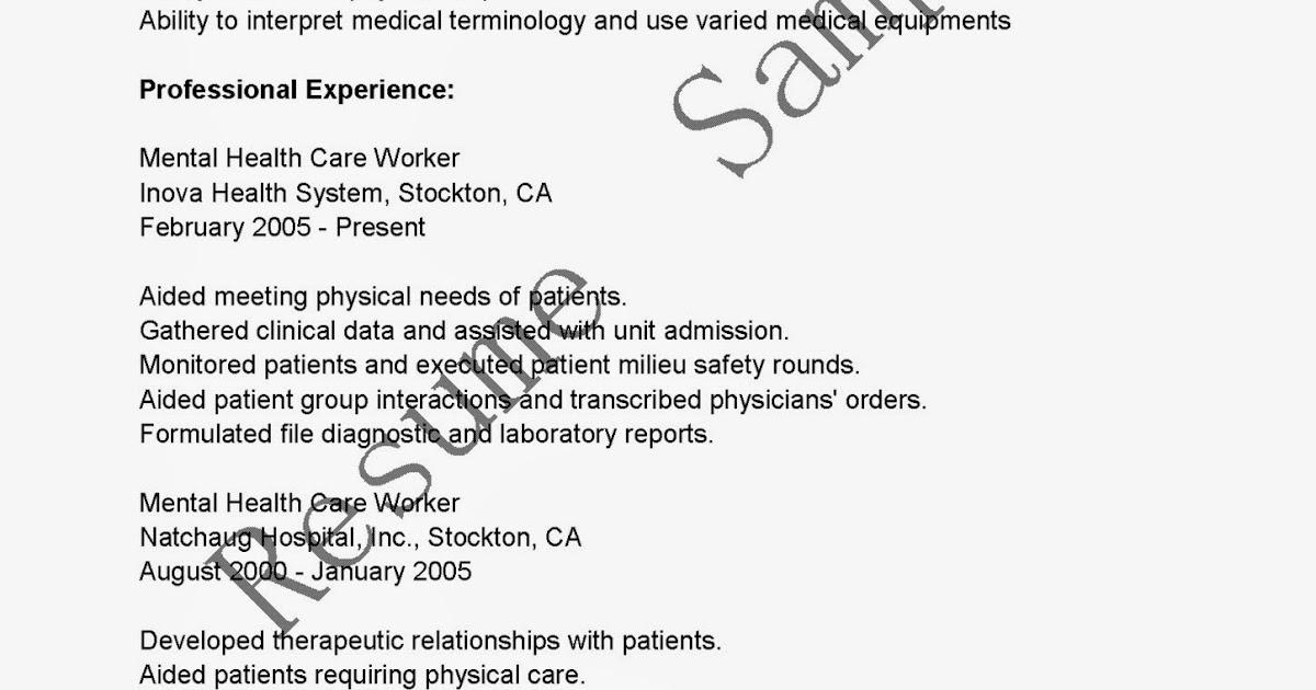Resume Samples Mental Health Care Worker Resume Sample