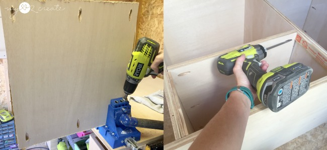 using a Kreg Jig to to attach shelves