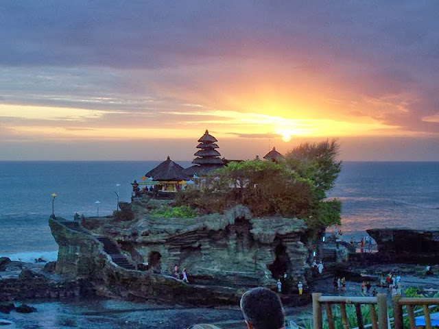 Sunset at Tanah Lot Temple at Bali, Indonesia
