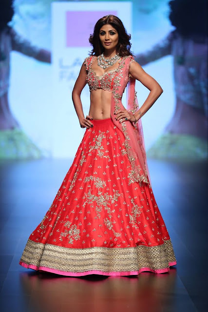 Shilpa Looked Gorgeous in Pink & Golden Embroidered Lehenga Choli