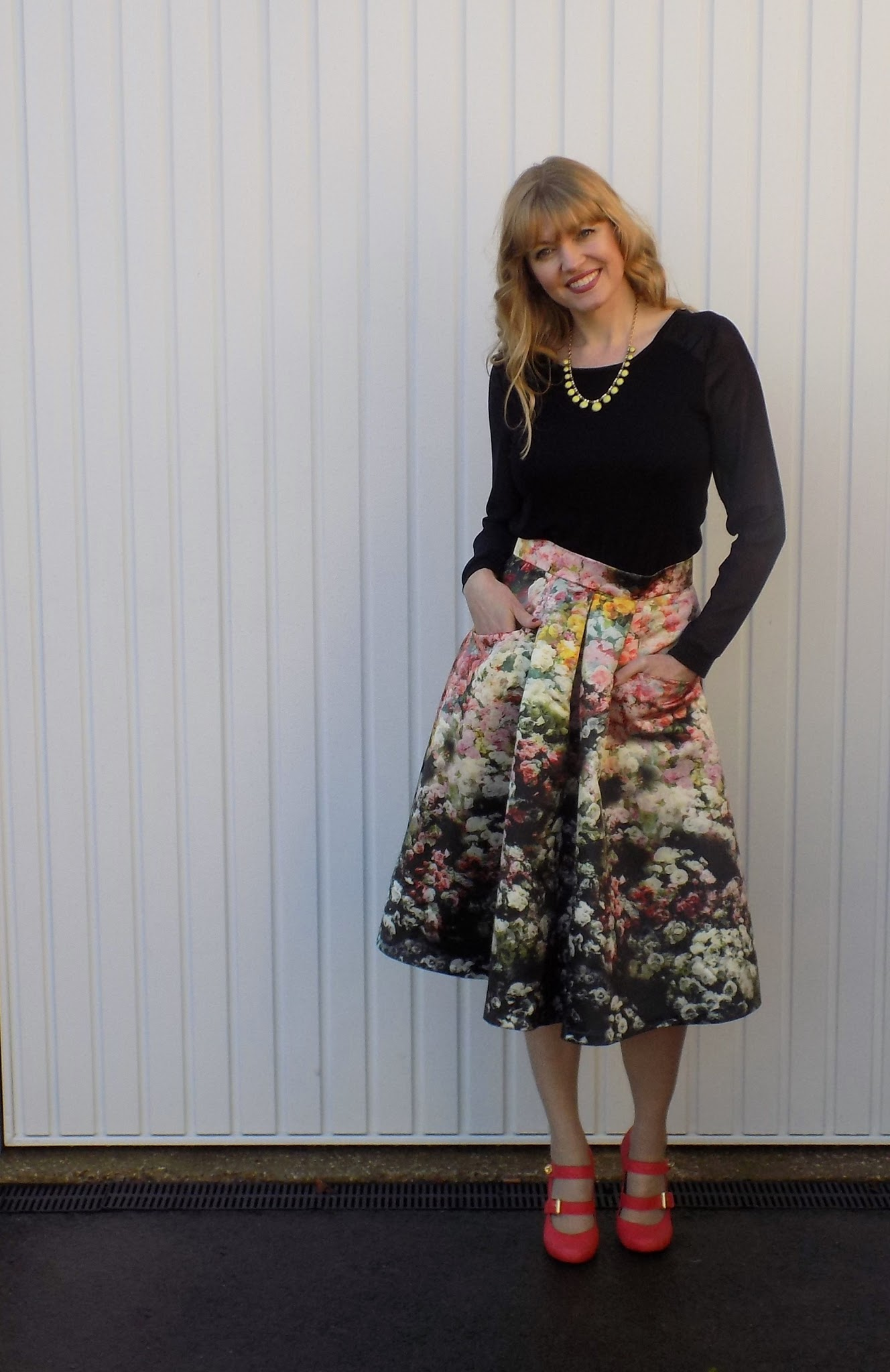 Outfit: Floral Midi Skirt with Orange Heels - What Lizzy Loves