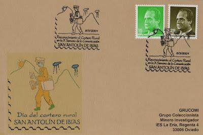 Tarjeta del matasellos dedicado al Cartero, dentro de la X Semana de la Comunicación del Colegio Aurelio Menéndez de Ibias