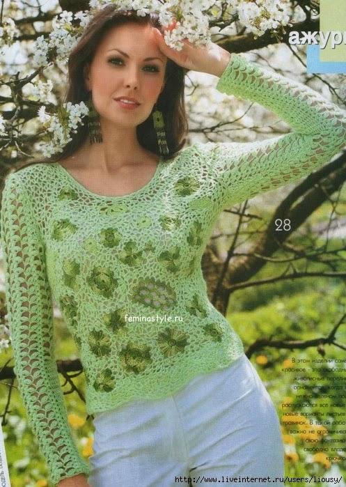 Hermoso sueter tejido al crochet
