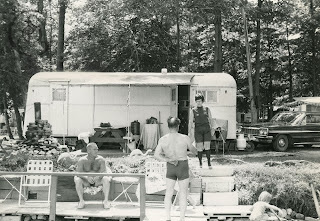Tudhope Park Campgrounds circa 1969, here an older model trailer at the edge of Lake Couchiching - this area is situated on the point at Tudhope Park