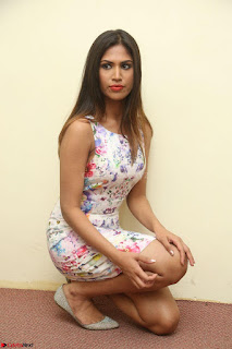 Nishi Ganda stunning cute in Flower Print short dress at Tick Tack Movie Press Meet March 2017 104.JPG