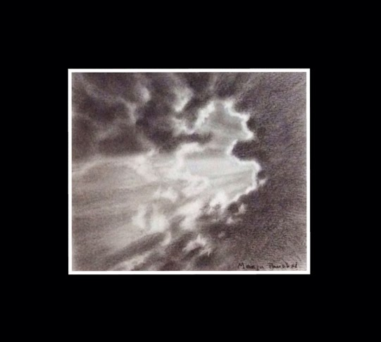 Charcoal painting of rays of light from clouds by Manju Panchal