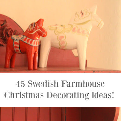 Swedish Farmhouse Christmas decorating holidays interior design dala horse