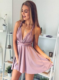 Modest Spaghetti Strap Sleeveless Mini Chiffon Homecoming Dress
