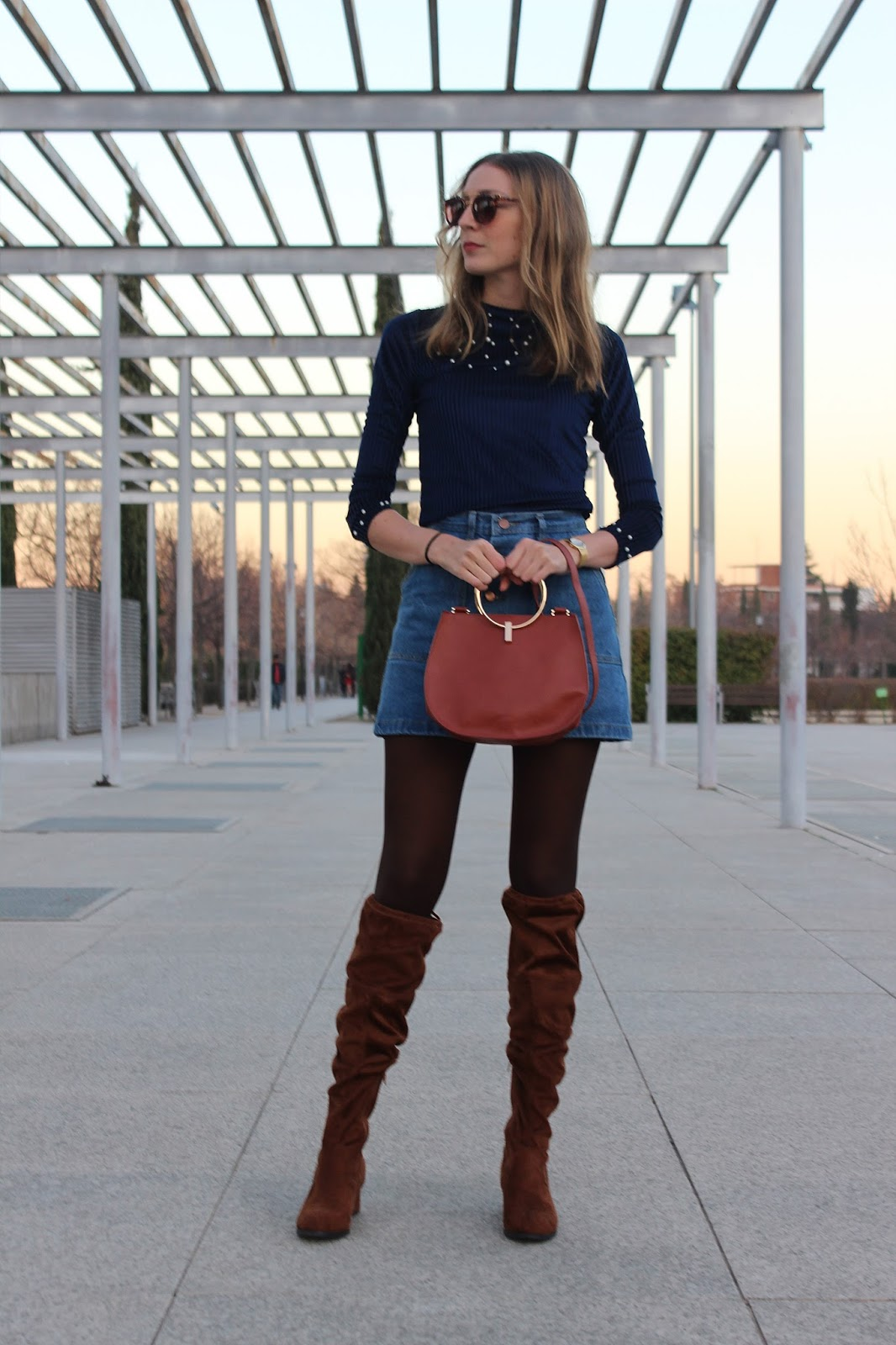 Pearl-top-denim-skirt-over-the-knee-boots-street-style