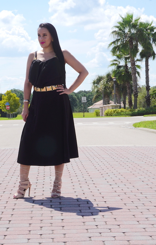 OOTD-A-Line-Skirt-Chiffon-Blouse-&-Nude-Lace-Up Heels