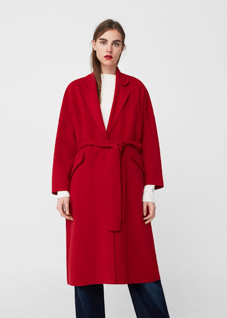 mango red wool coat