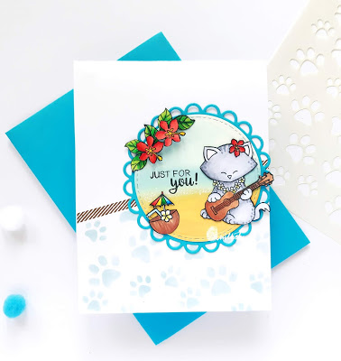 Fan Feature Week - Day 2 | Card using Aloha Newton Stamp Set by Newton's Nook Designs #newtonsnook #handmade