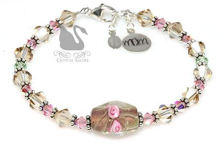 Golden Pink Rose Floral Artbead Crystal Mom Charm Bracelet (B086)
