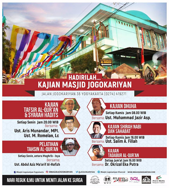 Gambar Jadwal Kajian Rutin Masjid Jogokariyan Yogyakarta 2017