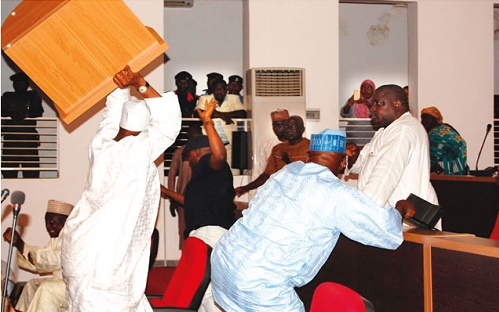 Nasarawa APC, PDP, Lawmakers Fight Dirty, Glasses Shattered, Tables & Chairs Upturned (Photo)