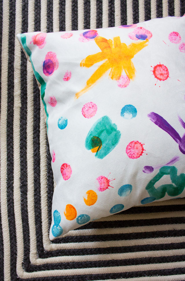 custom fabric on throw pillows