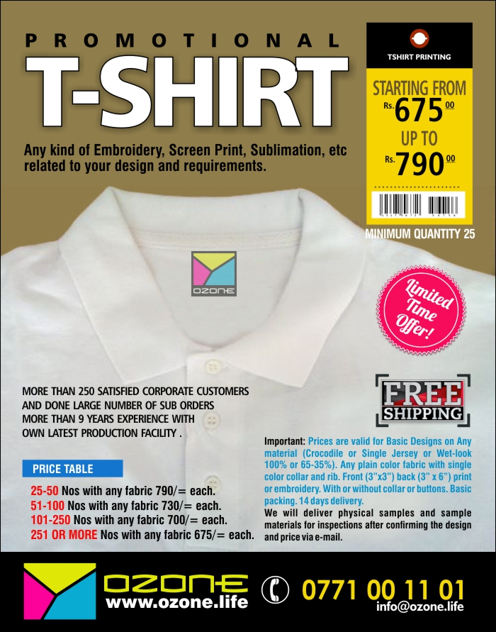"""Important: Prices are valid for Basic Designs on Any material (Crocodile or Single Jersey or Wet-look 100% or 65-35%). Any plain color fabric with single color collar and rib. Front (3""""x3"""") back (3"""" x 6"""") print or embroidery. With or without collar or buttons. Basic packing. 14 days delivery.  We will deliver physical samples and sample materials for inspections after confirming the design and price via e-mail."""