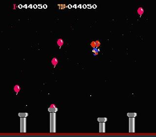 Captura de pantalla de Balloon Fight para Famicom. La imagen muestra la primera fase, de Bonus, en la que tendremos que coger todos los globos que podamos