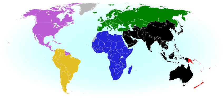 2018 world map showing the six continental confederations of men's national association football (soccer) teams, including all FIFA national teams and World Cup countries. Colorblind accessible.
