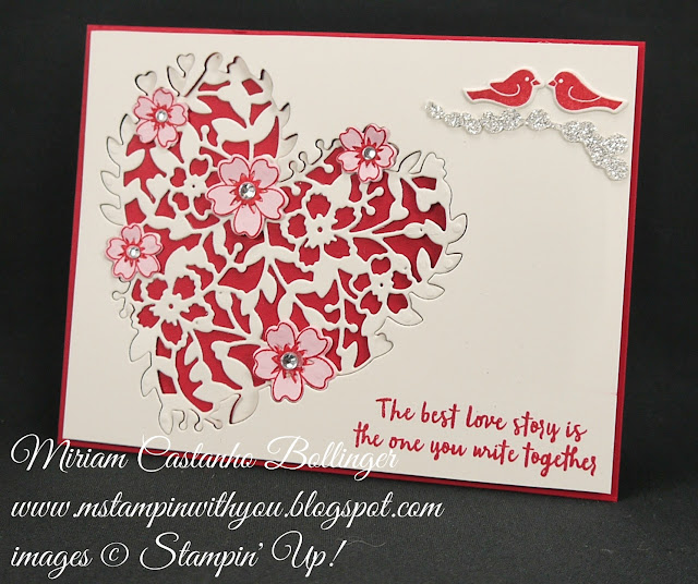 Miriam Castanho-Bollinger, #mstampinwithyou, stampin up, demonstrator, dsc, valentine's card, wedding card, anniversary card, bloomin' heart thinlit, Bloomin' Love stmap set, oh so succulent bundle, thoughtful branches bundle, su