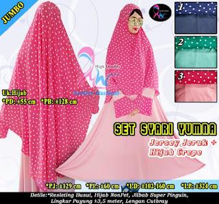 Gamis payung syari set hijab bahan bubble crepe model pinguin
