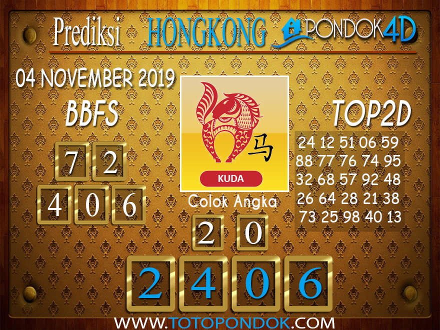 Prediksi Togel HONGKONG PONDOK4D 04 NOVEMBER 2019