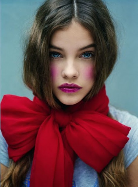 Hungarian model Barbara Palvin looking doll-like wearing OTT blusher and girly bow in W Magazine, August 2010
