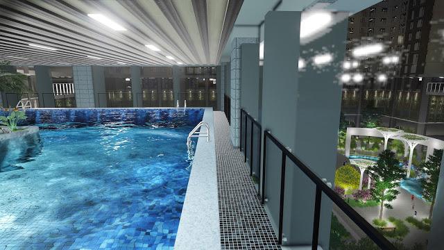 Đây là mô hình bể bơi tại dự án nhưng thực tế phần thô đã xong nhưng chưa đi vào hoạt động