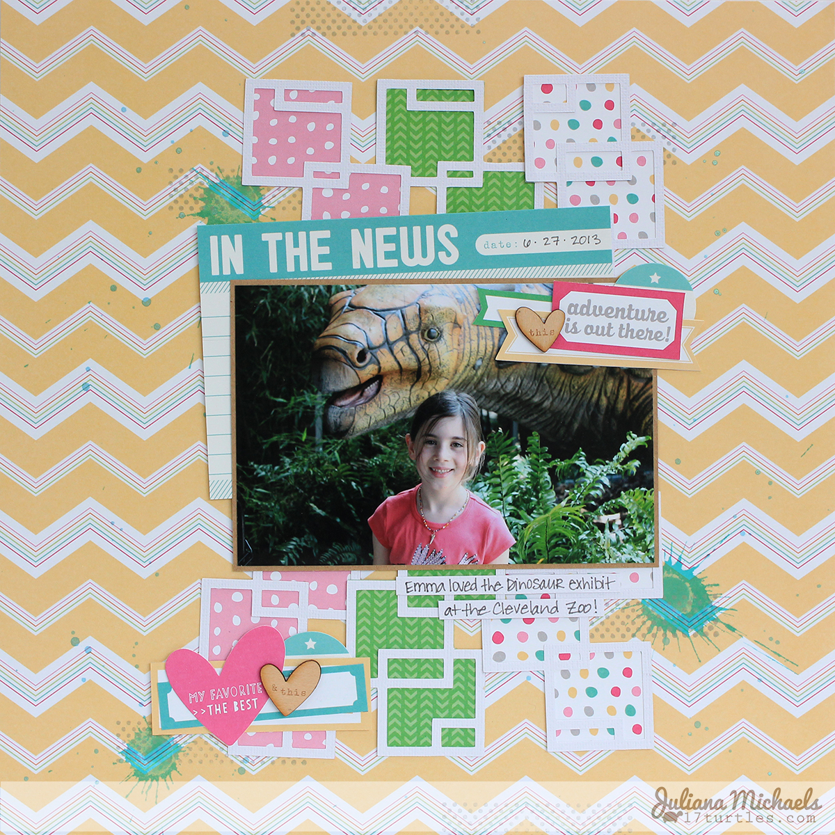 Adventure Is Out There Scrapbook Page by Juliana Michaels for Elle's Studio July 2014 Exclusive Kit and Cut Files #ellesstudio #scrapbookpage