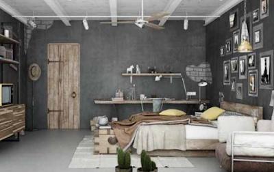 desain kamar industrial keren