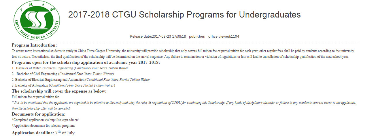 CTGU Full and Partial Undergraduate Scholarship in China