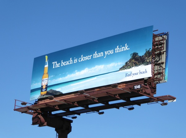 Corona beach closer than you think billboard