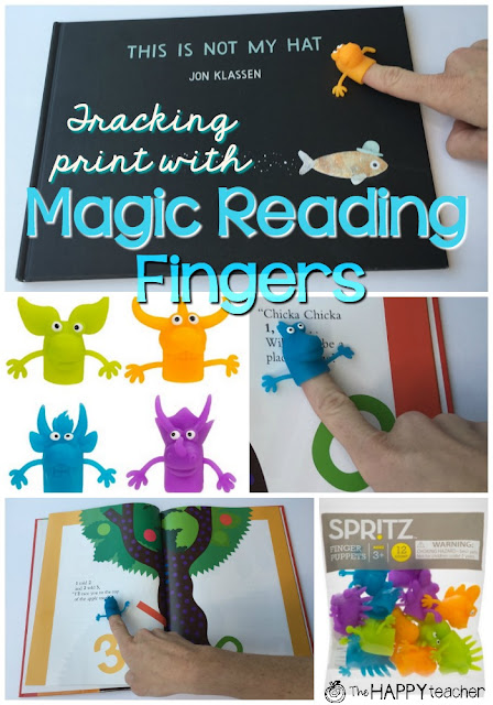 During reading groups, have students track print using magic reading fingers.