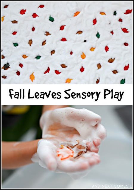 Fall leaves sensory play - digging for autumn leaves in soap foam from And Next Comes L