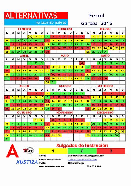 Ferrol. Calendario gardas 2016