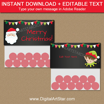 christmas chalkboard bag labels with santa and elf
